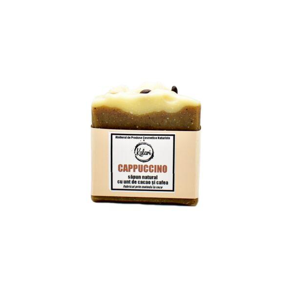 Cappuccino - sapun cu unt de cacao, cafea si ulei de scortisoara, fabricat prin metoda la rece. Produs hand made, in Romania. KALARI - cosmetice naturiste.