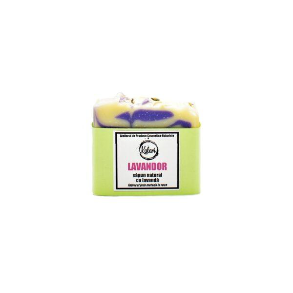 Lavandor - sapun solid, natural, cu ulei de lavanda si unt de shea, fabricat prin metoda la rece. Produs hand made, in Romania. KALARI - cosmetice naturiste.
