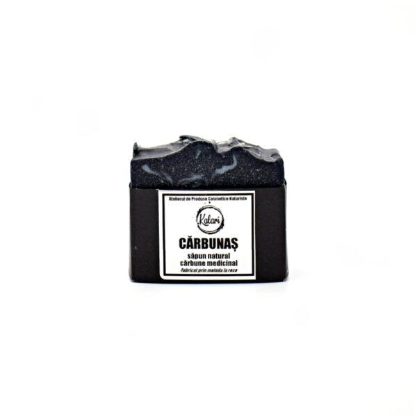 Carbunas - sapun solid, natural, cu ulei de neem si carbune medicinal, fabricat prin metoda la rece. Produs hand made, in Romania. KALARI - cosmetice naturiste.