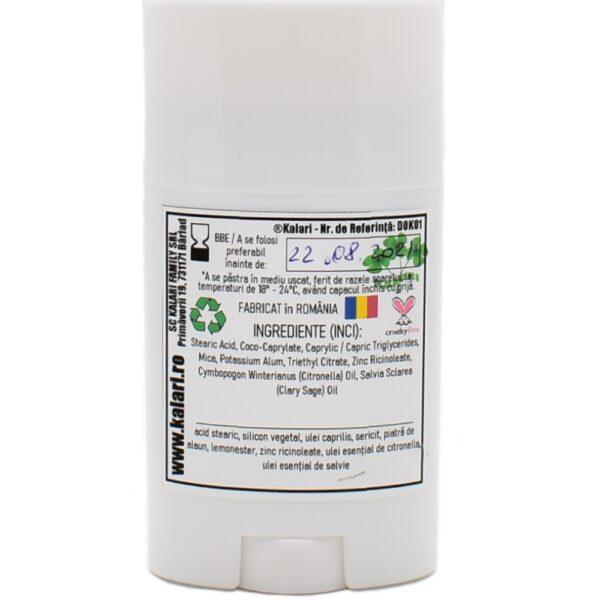 Deo Stick - deodorant natural cu ulei esential de salvie, pudra din piatra de alaun si lemonester. Produs hand made, in Romania. KALARI - cosmetice naturiste.