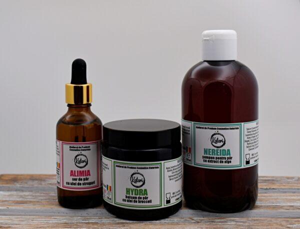 Hair Care - set produse cosmetice pentru par: sampon, balsam si ulei de varfuri. Produse hand made, in Romania. KALARI - cosmetice naturiste.