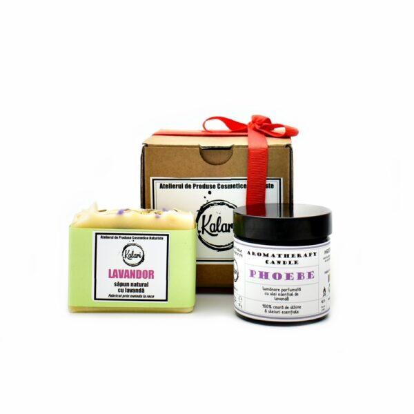 Set Cadou Kalari JOY - sapun solid Kalari, lumanare parfumata Phoebe. Produs hand made, in Romania. KALARI - cosmetice naturiste.