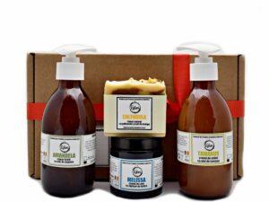 Set Cadou Kalari Kore - crema de maini, sapun lichid, crema de corp, sapun solid. Produs hand made, in Romania. KALARI - cosmetice naturiste.